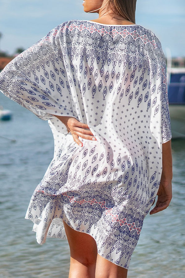 Lila und Pink Print knielangen Cover Up