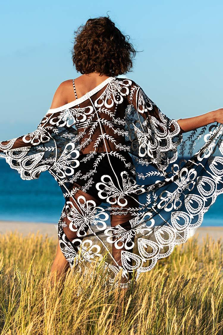 Schwarz Boho Halbarm-Cover Up cupshe Cover Up