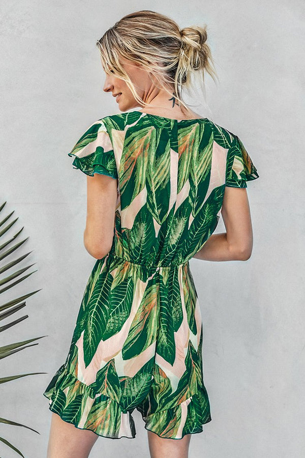 Palm Print Front Tie Overall