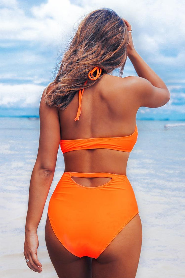 Neon Orange Geknoteter High-Waisted Bikini cupshe bikini