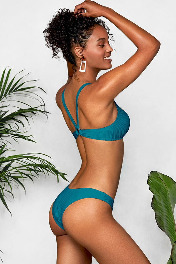 Stilvoller Bikini-Set mit O-Ring in Blau Cupshe