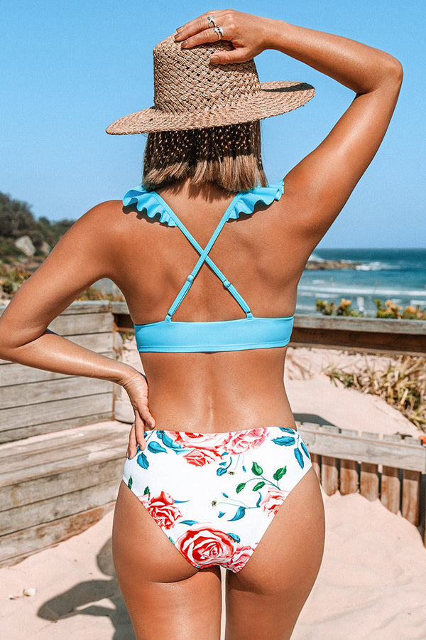 Bikini-Set mit Blumendruck in Blau