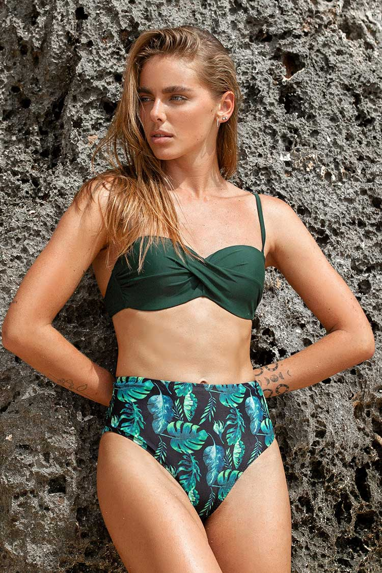 Tropisches Bikini-Set mit High Waist Cupshe