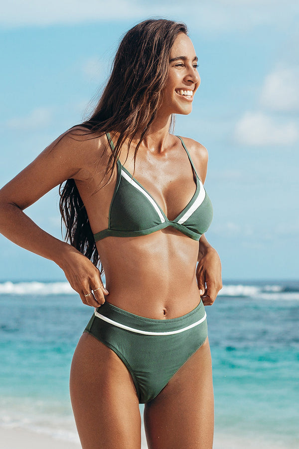 Bikini-Set mit High Waist in grün