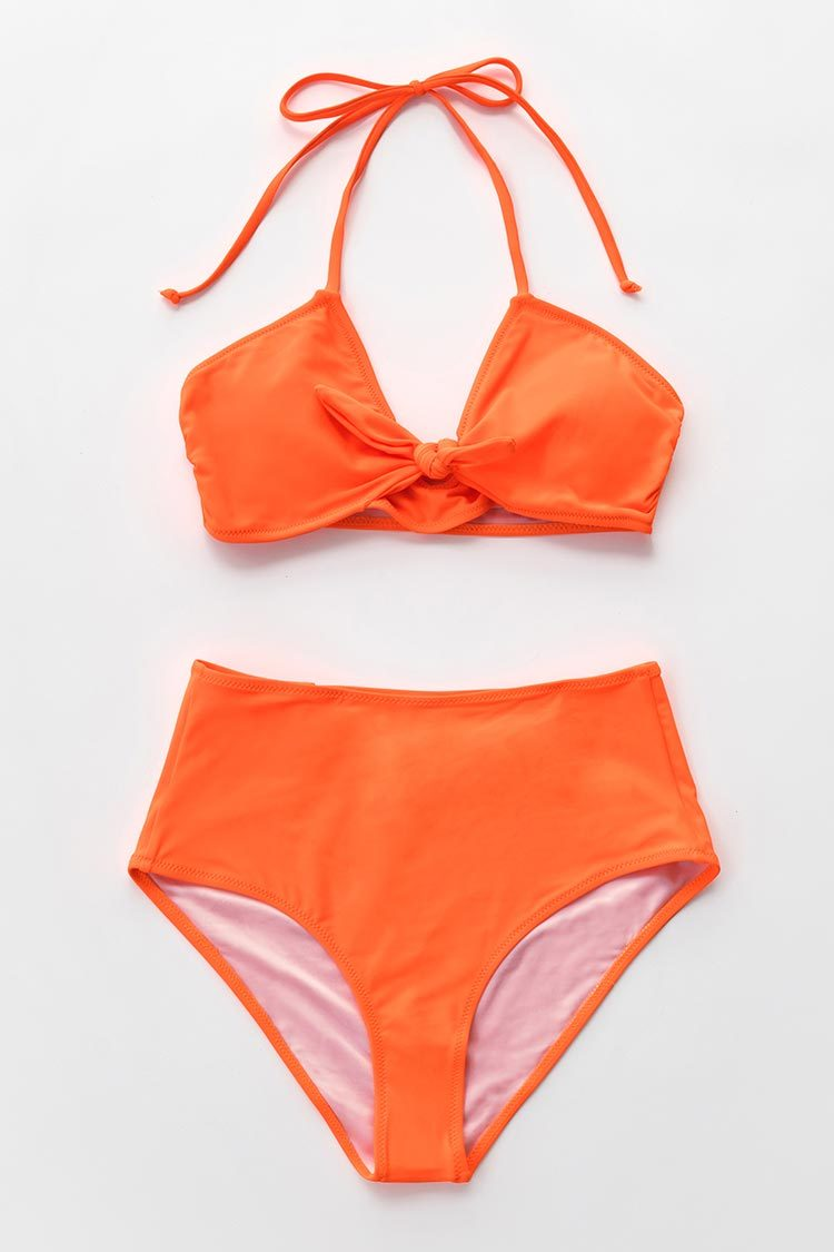 Neon Orange Geknoteter High-Waisted Bikini