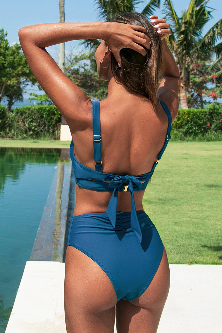 High Waisted Bikini-Hose in Blau Cupshe