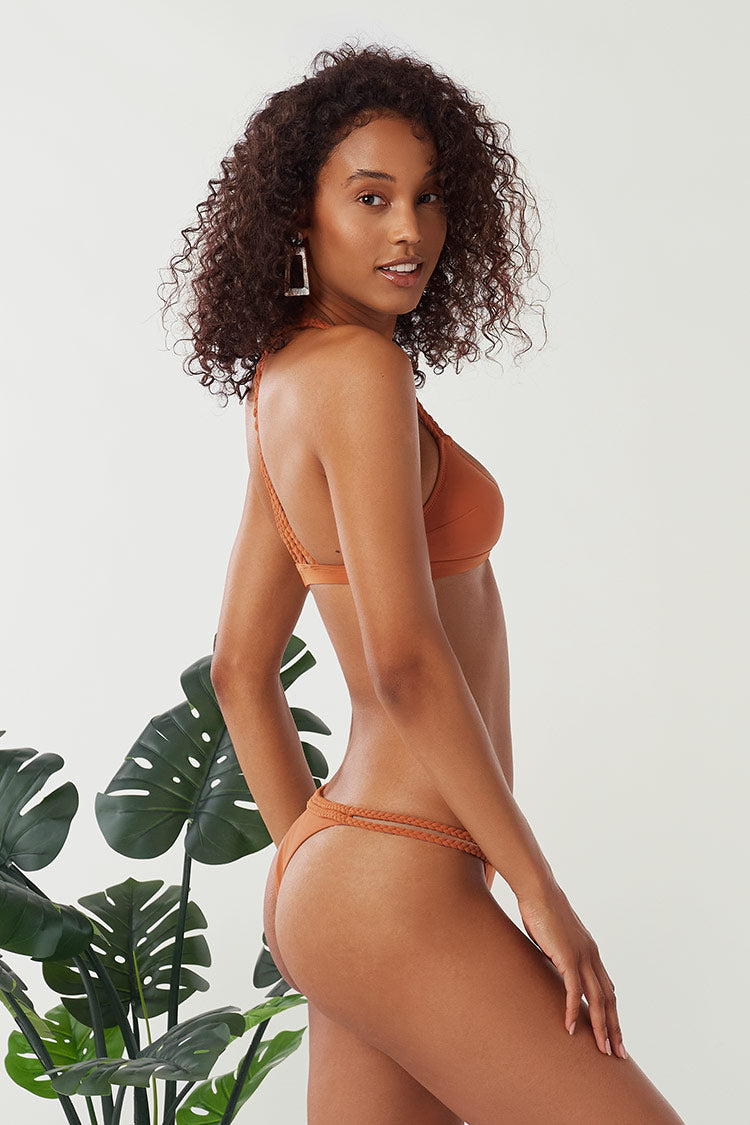 Geflochtener Bikini in Orange