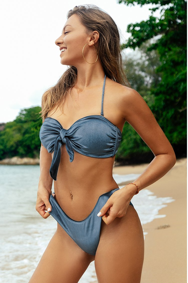 Silky Blue High-Leg Cut Bandeau Bikini