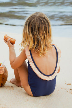 Toddler girl and girl Navy Blue Ruffled One-piece Swimsuit