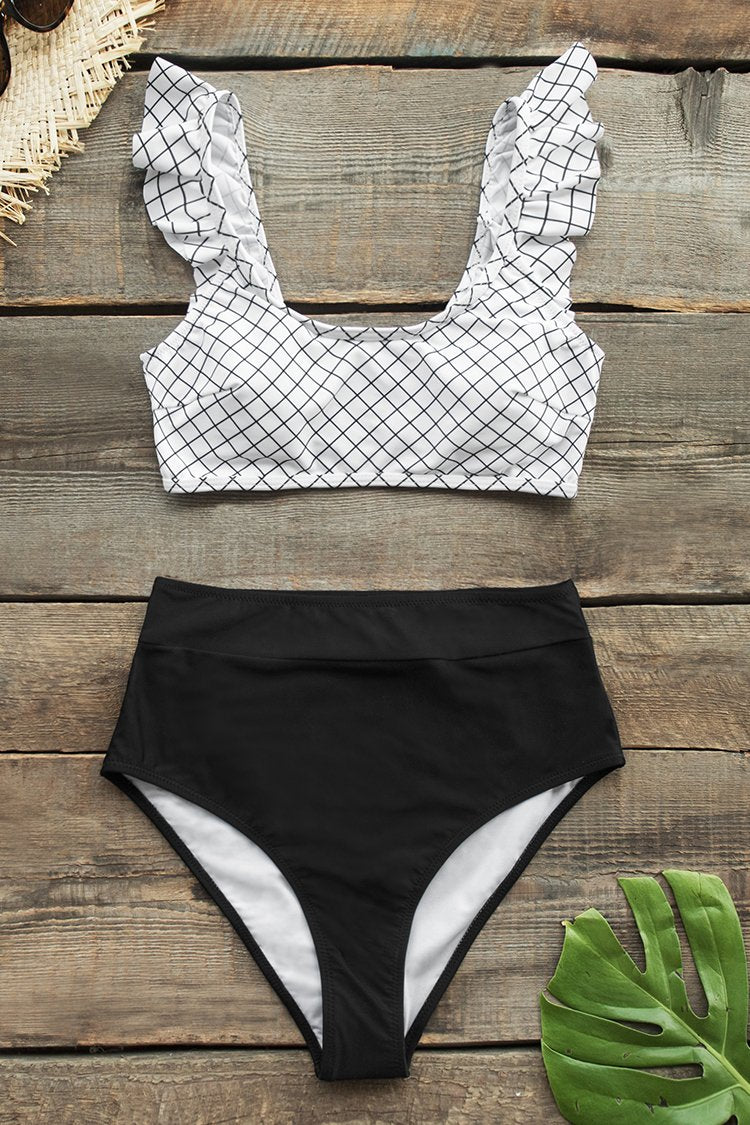 Schwarzweiss Plaid High-Waisted Bikini