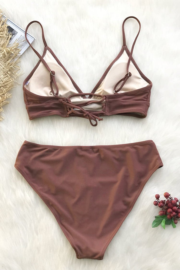 Bequemer Strand Lace Up Bikini