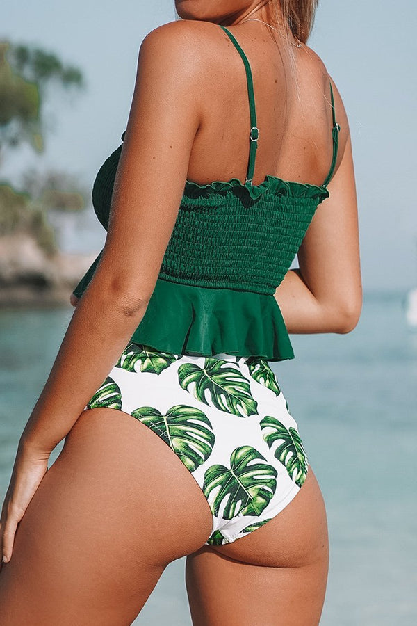 Smocked Bikini-Set mit Monstera High-Waist