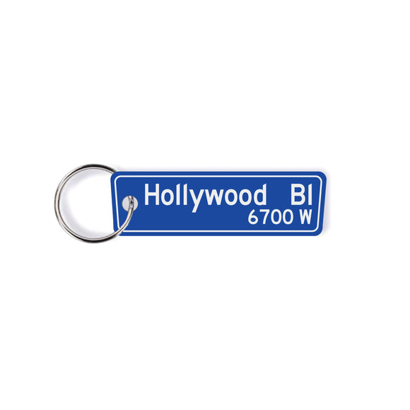 Hollywood Bouldvard street sign Keychain