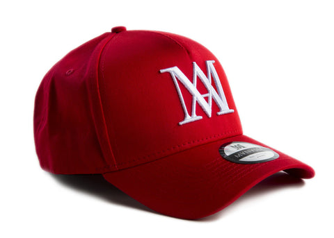 NEW Manasse Embroidered A-Frame Snap Back (Red)