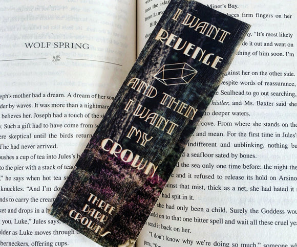 Three Dark Crown Inspired Wood Bookmark