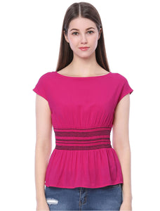 Women Boat Neck Cap Sleeves Smocked Waist Top Rose Red