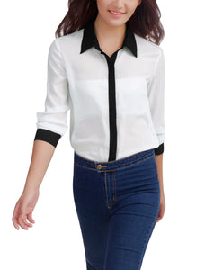 Ladies White Point Collar Buttoned Cuff Chiffon Blouse/XS (US 2)