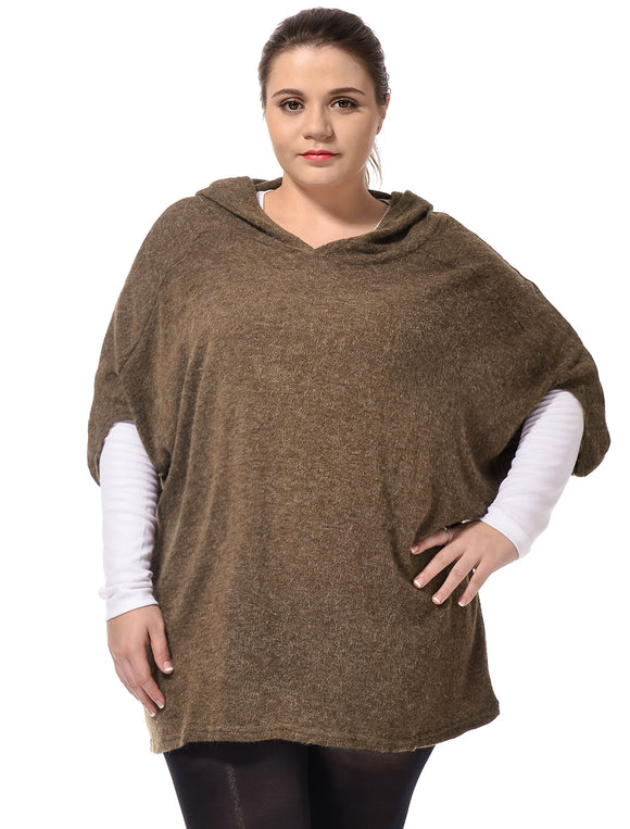Ladies Coffee Color Hooded Design Autumn Half Sleeves Knit Tops