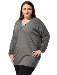 Ladies Dark Gray Batwing Sleeves Leisure Knitted Tunic Shirt Plus Size