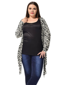 Ladies White Black Plus Size Front Opening Stylish Long Sleeves Cardigan