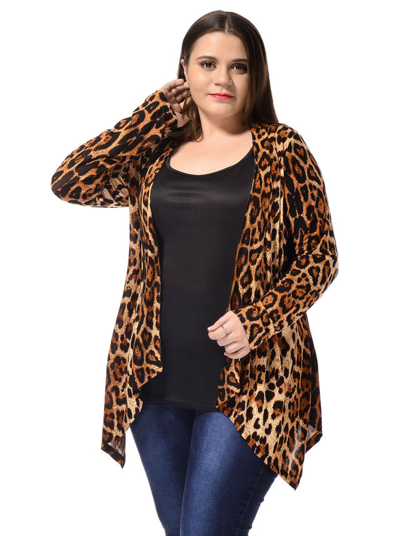 Ladies Beige Black Leopard Prints Front Opening Casual Plus Size Cardigan