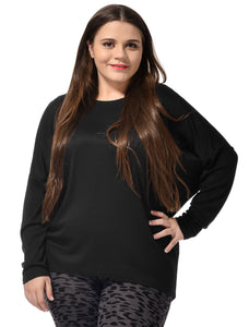 Ladies Black Dolman Sleeves Knitted Leisure Autumn Tunic Shirt Plus Size/3X