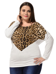 Ladies White Batwing Long Sleeves Plus Size Autumn T-Shirt Tops