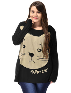 Ladies Black Cat Head Prints Batwing Sleeves Autumn Tee Shirt Plus Size