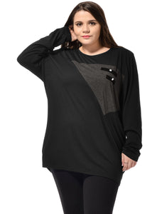 Ladies Black Batwing Long Sleeves Chic Buttons Embellished Tee Shirt