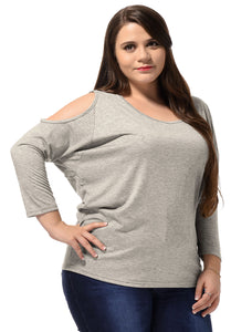 Ladies Light Gray Cut Out Shoulders Leisure Tee Shirt