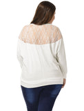 Ladies White Scoop Neck Lace Panel Back Autumn Shirt