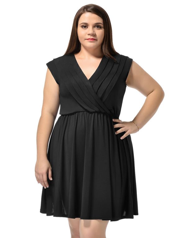 Women Surplice Neckline Cap Sleeves Plus Size A-Line Dress Black