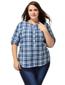 Women Plus Size Long Sleeves High Low Hem Plaids Shirt Blue