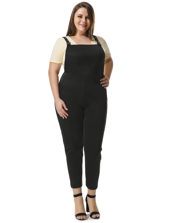Women Plus Size Pinafore Overalls w Side Pockets Black