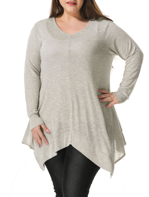 Women Plus Size V Neck Asymmetric Hem Tunic Top Gray