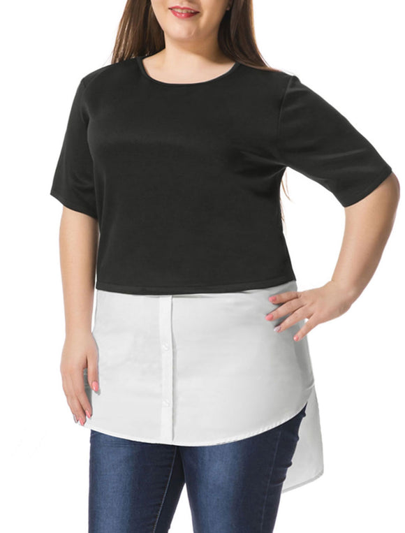 Women Plus Size Contrast-Paneled Shirttail Tunic Top Black White