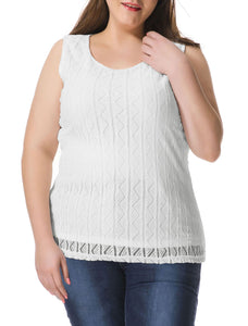 Women Plus Size Hollow Triangle Sleeveless Top White