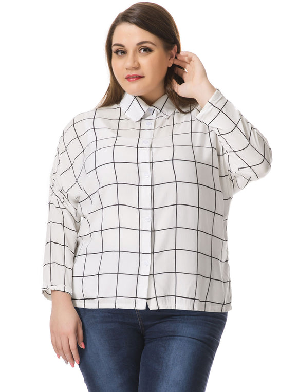 Women Plus Size Hi-Lo Hem Batwing Sleeves Checked Shirt White