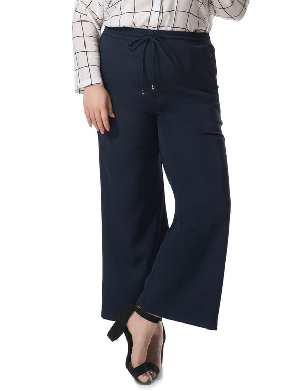 Women Plus Size Wide Leg Elastic Drawstring Pants Blue