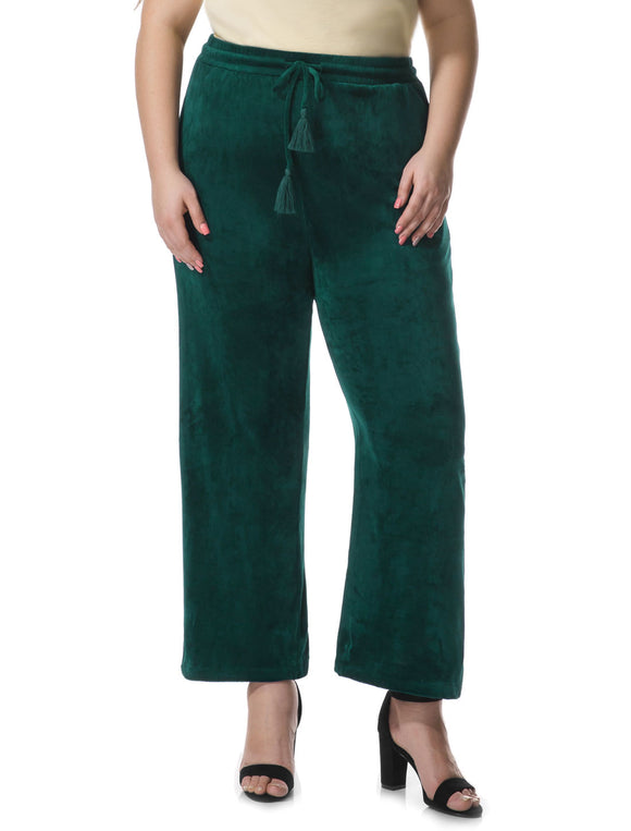 Women Plus Size Velvet Elastic Waist Drawstring Pants Green