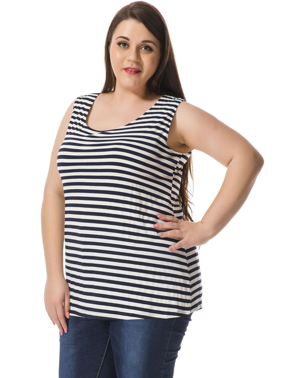 Women Plus Size Striped Top w Cut Out Bowknot Back Blue White