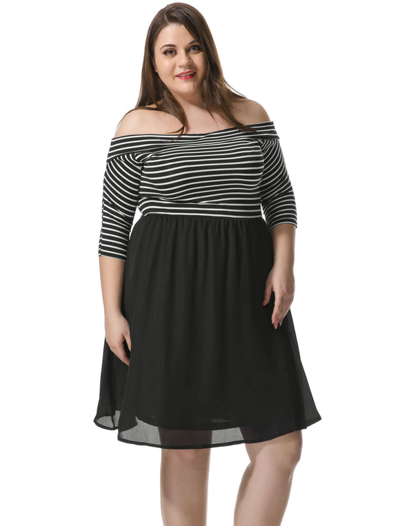 Women Plus Size Off Shoulder Striped Paneled Dress Black