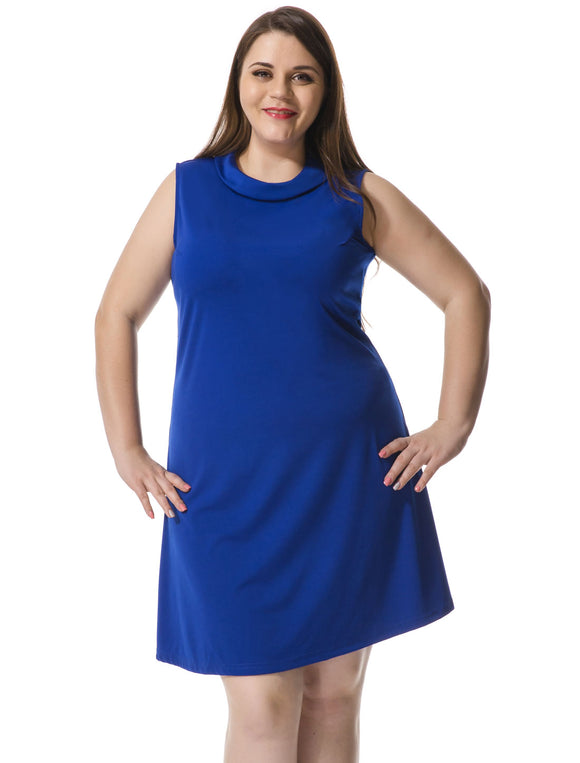 Women Plus Size Turn Down Collar Sleeveless Dress Blue