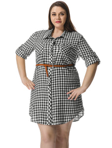 Women Plus Size Roll Up Sleeves Belted Plaid Shirt Dress Black White