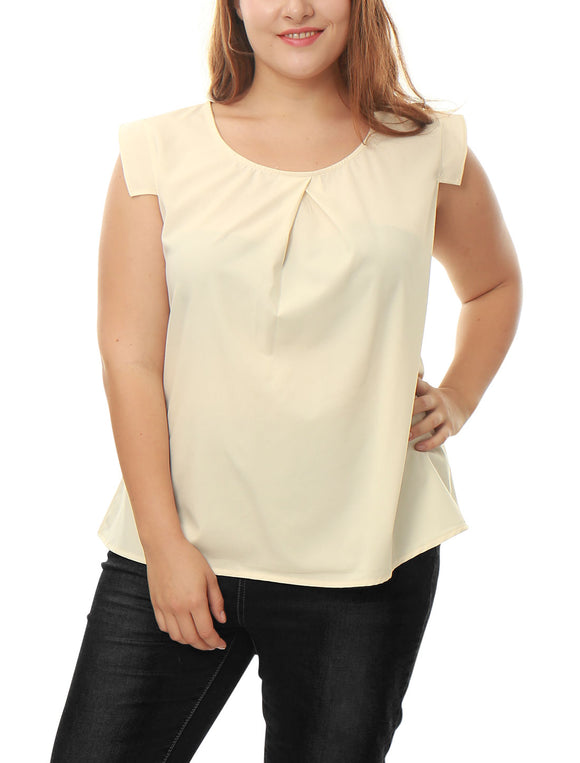 Women Plus Size Inverted Pleat Front Cap Sleeves Blouse Beige