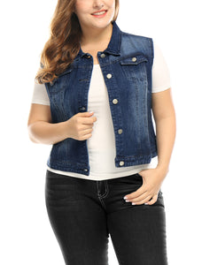 Women Plus Size Chest Pockets Single Breasted Denim Vest