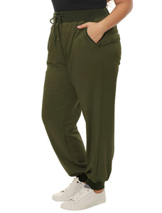 Women Plus Size Drawstring Waist Contrast Color Jogger Pants