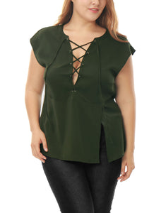 Women Plus Size Plunging Lace-Up Split Front Sleeveless Top Green