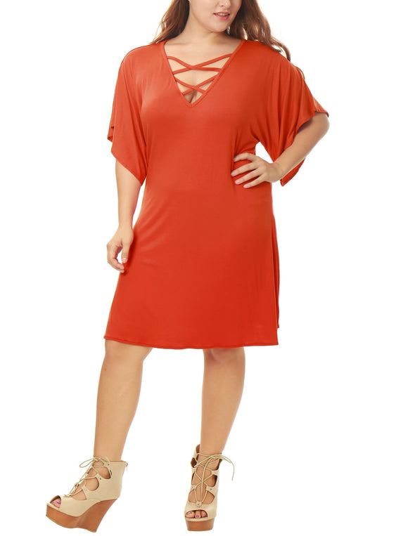 Women Plus Size Short Sleeves Strappy Front Above Knee Dress Orange