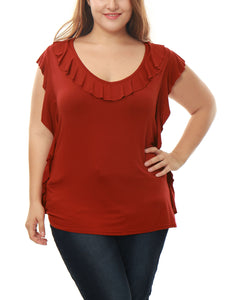 Women Plus Size V-Neckline Ruffle Trim Tunic Top Red